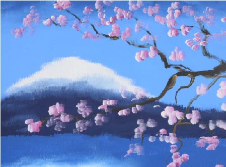象が描いた富士山と桜の絵