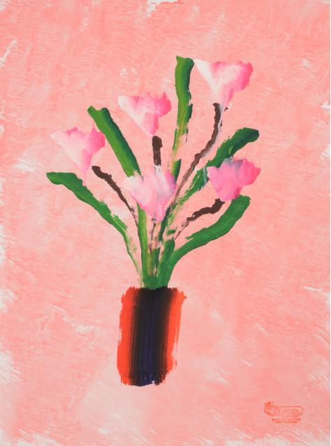 象が描いた花の絵