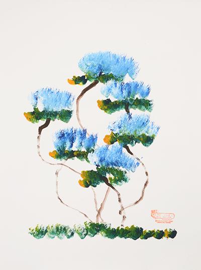 象が描いた青い花の絵
