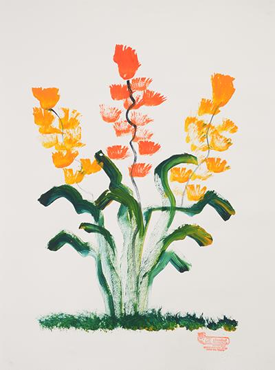 象が描いたオレンジ色の花の絵